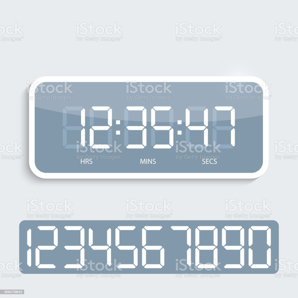 Digital clock with shiny plastic panel. vector art illustration