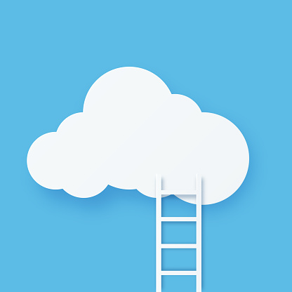 Digital cloud computing technology with staircase