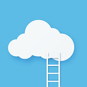 istock Digital cloud computing technology with staircase 1280906435