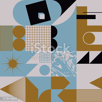 Digital collage vector artwork with abstract deconstructed shapes and cutout graphics elements, great for various backgrounds, poster art, textile design, decorative prints, invitation letters, etc.