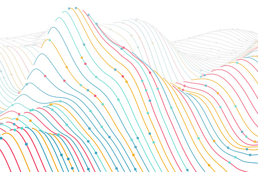 3D digital colored wireframe landscape on white background. Sound waves abstract visualization.