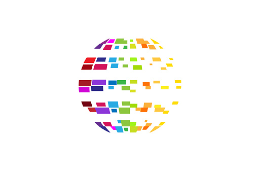 Digital Colorful Planet Pixel Circle Icon Stock Illustration Download Image Now Istock