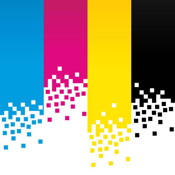 illustrazioni stock, clip art, cartoni animati e icone di tendenza di cmyk digital colour lines background design - cmyk
