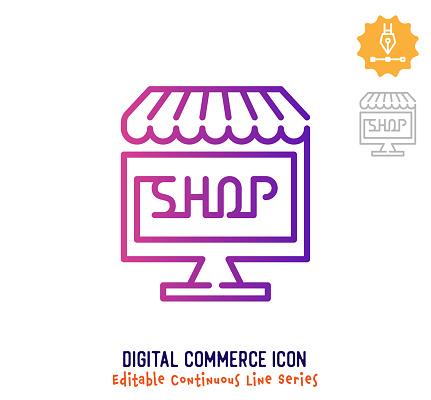 Digital Commerce Continuous Line Editable Icon