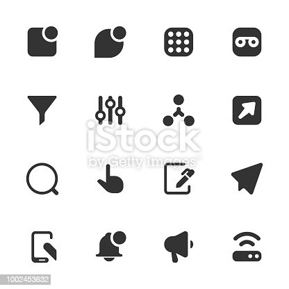 Vector illustration of a set of digital communications icons