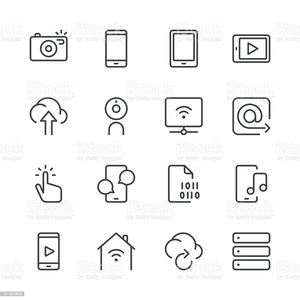 Digital Communications Icons set 1 | Black Line series vector art illustration