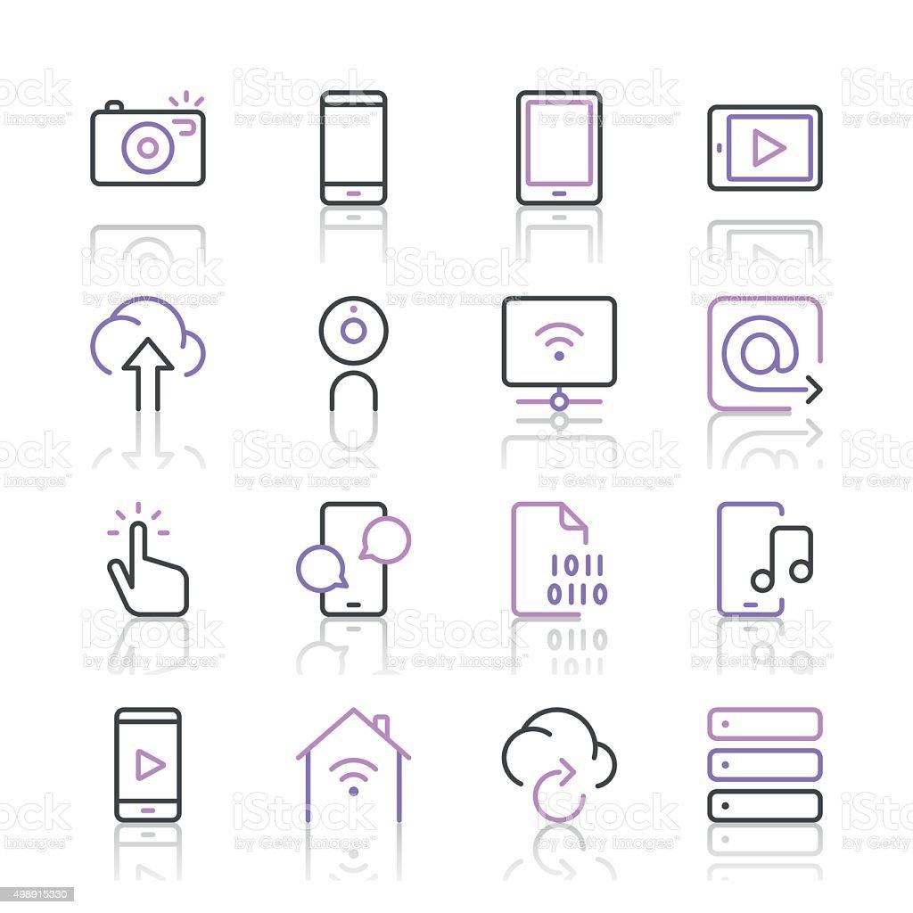 Digital Communications Icons set 1 | Purple Line series vector art illustration