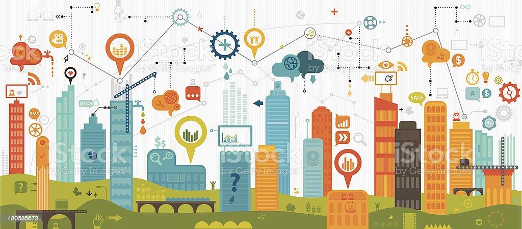 Digital Community vector art illustration