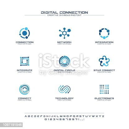 Digital connect creative symbols set, font concept. Social media network abstract business pictogram. Internet technology, communication icon. Corporate identity alphabet, sign, company graphic design
