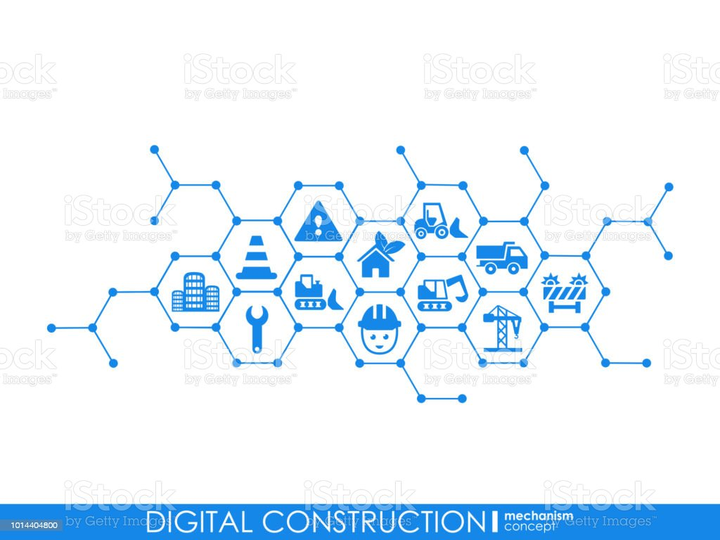 Digital Construction Hexagon Abstract Background With Lines Polygons
