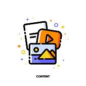 Digital content marketing and social media sharing concept. Icon with mix of video, photo and text files. Flat filled outline style. Pixel perfect 64x64. Editable stroke