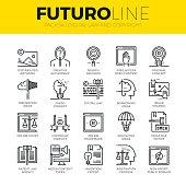 Digital Copyright Futuro Line Icons