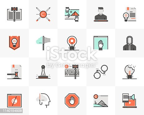 Flat line icons set of digital copyright law for online content. Unique color flat design pictogram with outline elements. Premium quality vector graphics concept for web, logo, branding, infographics.