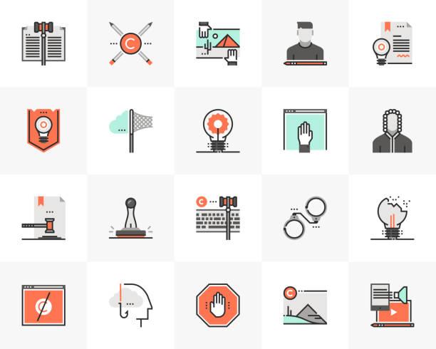 Digital Copyright Futuro Next Icons Pack vector art illustration
