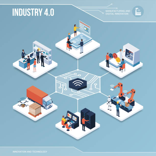 Digital core: industry 4.0 and automation vector art illustration