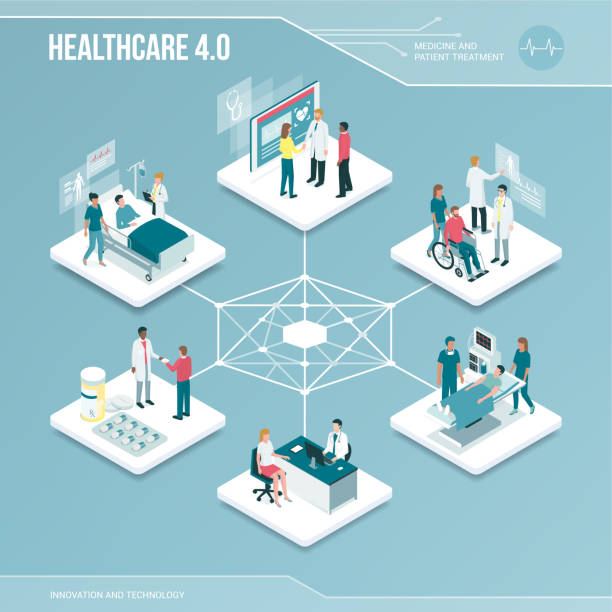 illustrazioni stock, clip art, cartoni animati e icone di tendenza di digital core: online healthcare and medical services - paziente