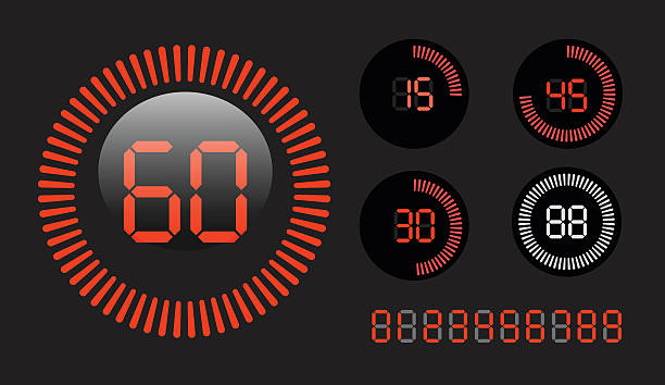Digital Countdown Timer vector art illustration