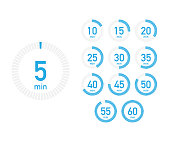 Digital countdown timer with five minutes interval in modern style. Set of 12 timer icons. Vector stock illustration