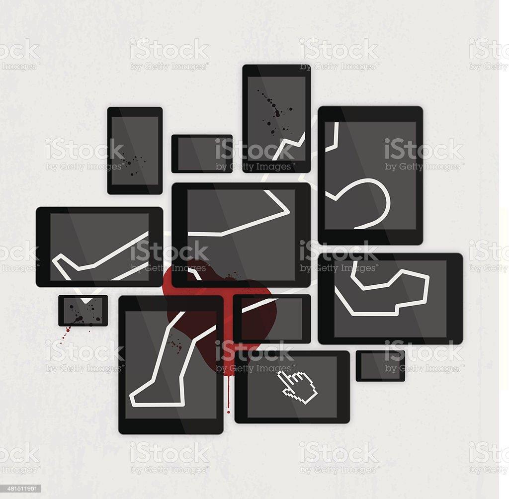 Digital crime scene vector art illustration