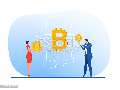 istock Digital currency or Bitcoin digital business concept for Investments for bitcoin and blockchain vector 1332284052