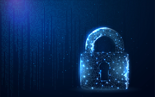 Digital data protect or secure concept. Security