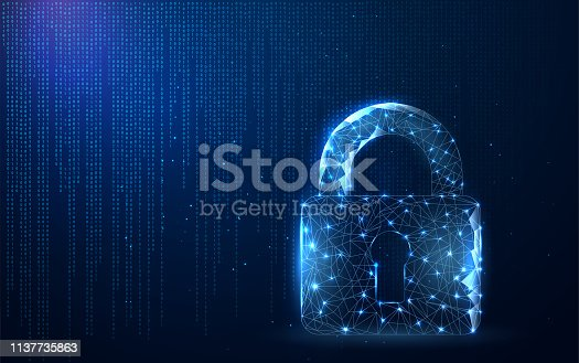 Digital data protect or secure concept. Security, safe, privacy or other concept in style polygonal wireframe.