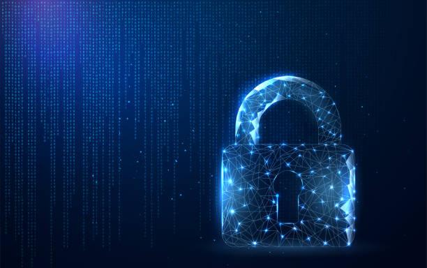 ilustrações, clipart, desenhos animados e ícones de os dados digitais protegem ou fixam o conceito. segurança - fechado