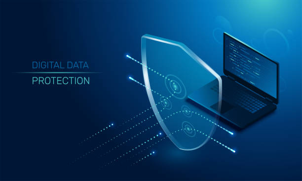 digital data protection isometric vector image on a dark background, a transparent shield covering the laptop from virus attacks, protection of digital data antivirus software stock illustrations