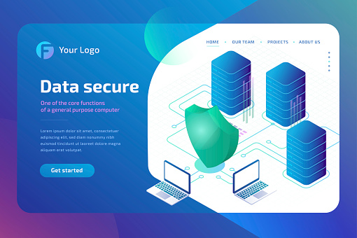 Digital data secure and data security concept. cyber security Landing page template. 3d isometric vector illustration.