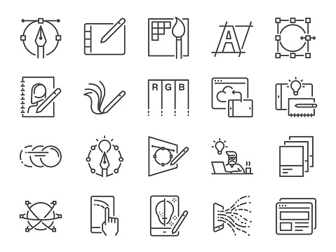 Digital design line icon set. Included icons as graphic designer, layout, tablet, mobile app, web design and more.