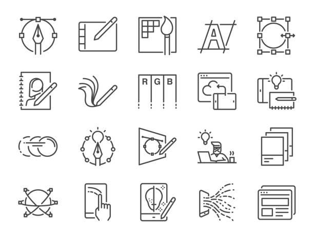 數位設計線圖示集。包括圖形設計師、佈局、平板電腦、移動應用、網頁設計等圖示。 - 圖畫 藝術品 幅插畫檔、美工圖案、卡通及圖標