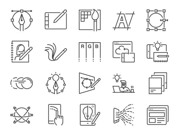 digital design line icon set. included icons as graphic designer, layout, tablet, mobile app, web design and more. - szkic rysunek stock illustrations