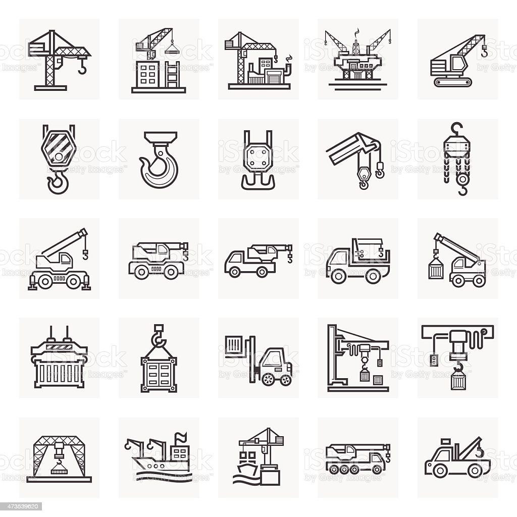 Digital design of construction icons set on white background vector art illustration