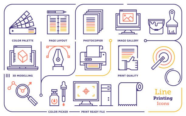 Digital Design Services Vector Line Icon Set Line icon set vector illustrations of digital printing, graphic design, marketing services. printing plant stock illustrations