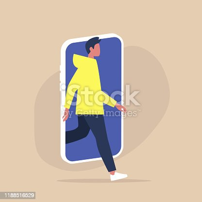 Digital detox and Modern lifestyle, Young male character stepping out of the mobile phone screen