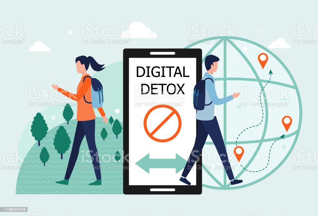 Digital detox concept. A man and a woman exit the smartphone. The idea of abandoning gadgets, devices, the Internet, socializing on social networks, a healthy lifestyle, leisure, travel. Flat vector - Royalty-free Addict stock vector