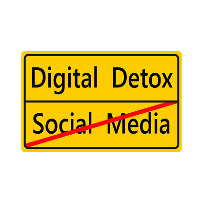 Digital detox yellow sticker for people who want to spend time away from technology.No social media.Vector illustration