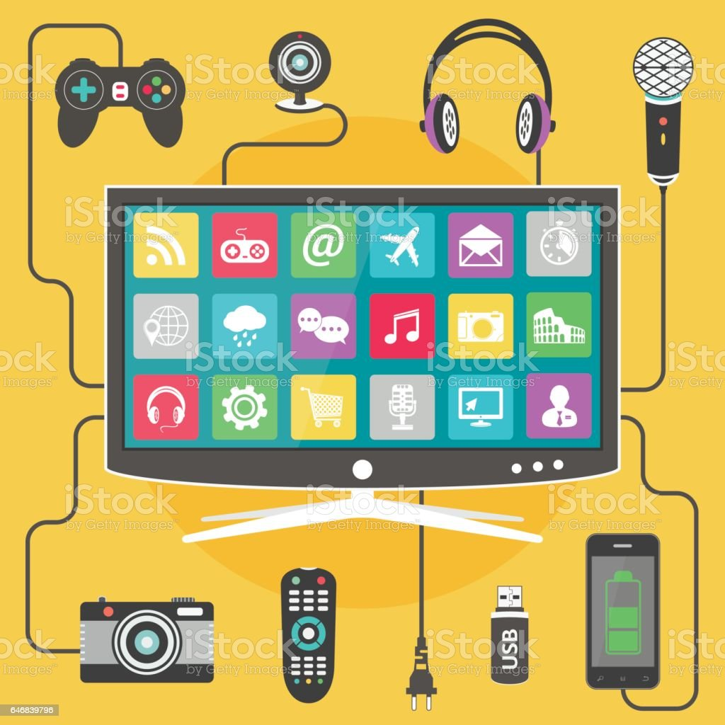 Digital devices connected to modern Smart TV vector art illustration