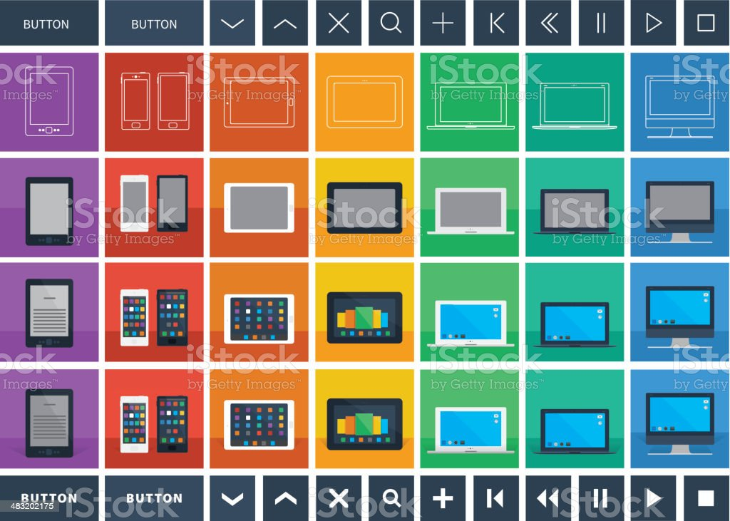 digital devices flat design icons and buttons royalty-free stock vector art