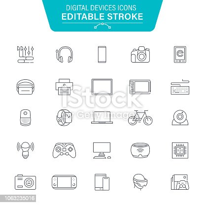 Computer Devices, Equipment, Data, Laptop, Smartphone, VR, Editable Stroke Icon Set