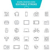 Computer Devices, Equipment, Data, Laptop, Smartphone, VR, Editable Stroke Icon Set