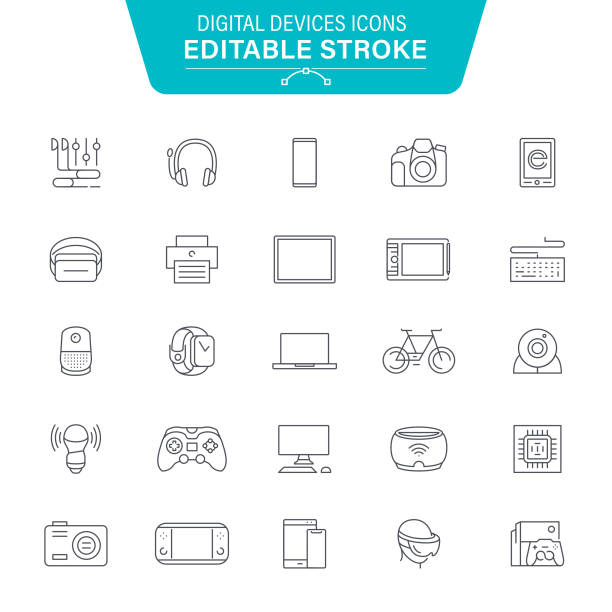 Digital Devices Line Icons Computer Devices, Equipment, Data, Laptop, Smartphone, VR, Editable Stroke Icon Set game controller stock illustrations