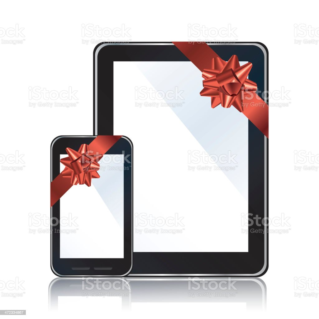 Digital devices with ribbon and bow royalty-free stock vector art