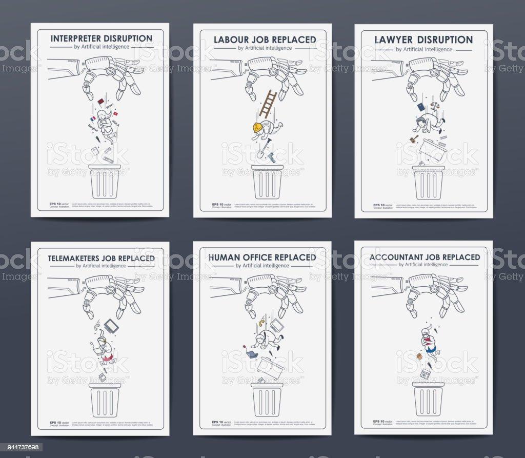 Concepto de interrupción digital de disruptivo. negocio trabajo reemplazar por AI y robot, abogado, contador, trabajo, oficina de humana, telemarketer. - ilustración de arte vectorial