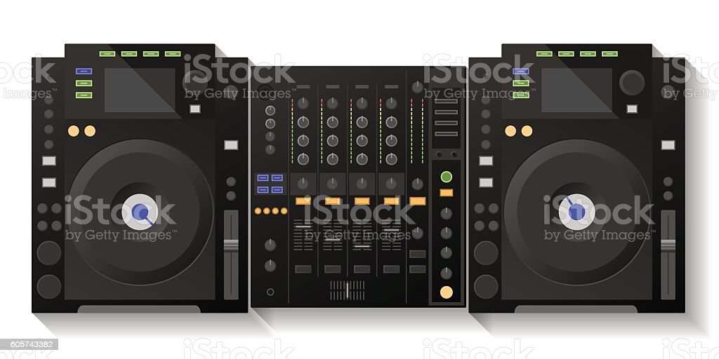 Digital DJ deck, mixer. Vector vector art illustration
