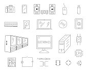 Electronics Doodles Set. Vector illustration.