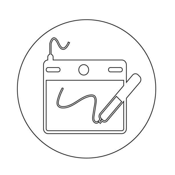 digitale zeichenbrett symbol - mauspad stock-grafiken, -clipart, -cartoons und -symbole