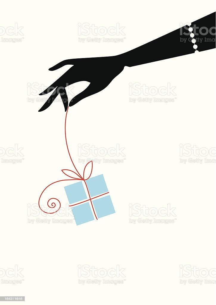 Digital drawing of black hand dangling a light blue present royalty-free digital drawing of black hand dangling a light blue present stock vector art & more images of adult