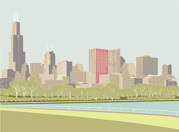 Digital drawing of the Chicago skyline The skyline of the city of Chicago from the perspective of the Adler Planetarium area, showing the lake and park. lakeshore stock illustrations