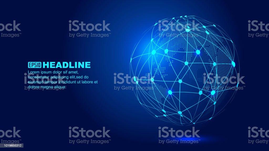 Digitalen Erde, Punkt Linie Kombination von globalen Netzwerk Technologie abstrakte Vektor Hintergrund Lizenzfreies digitalen erde punkt linie kombination von globalen netzwerk technologie abstrakte vektor hintergrund stock vektor art und mehr bilder von abstrakt